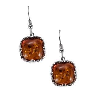 Baltic Cognac Amber Earrings in Sterling Silver (14mm)