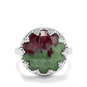 10.61ct Ruby-Zoisite Sterling Silver Ring