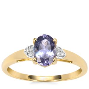 Bi Colour Tanzanite Ring with Diamond in 9K Gold 1cts
