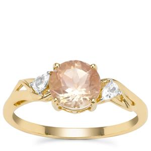 Peach Parti Oregon Sunstone Ring with White Zircon in 9K Gold 1.39cts