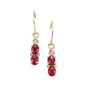 Montepuez Ruby Earrings with Diamond in 10K Gold 1.25cts