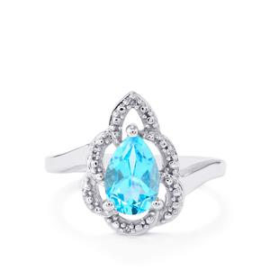 Swiss Blue Topaz & Diamond Sterling Silver Ring ATGW 1.53cts