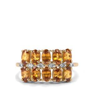Morafeno Sphene & White Zircon 9K Gold Ring ATGW 2.78cts
