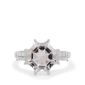 Mirror of Paradise Cut Optic Quartz & White Zircon Sterling Silver Ring ATGW 5.10cts