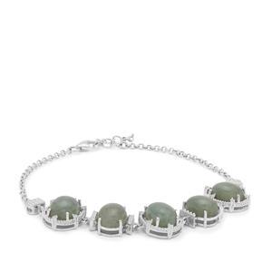 Type A Burmese Jadeite & White Zircon Sterling Silver Bracelet ATGW 17.38cts