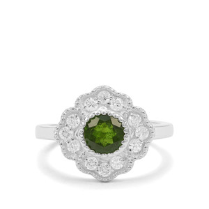 Chrome Diopside & White Zircon Sterling Silver Ring ATGW 1.66cts