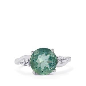 Tucson Green Fluorite & White Topaz Sterling Silver Ring ATGW 4.43cts