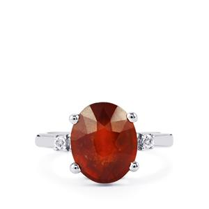 Hessonite Garnet Ring with White Topaz in Sterling Silver 5.72cts