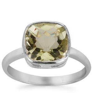 2.25cts Prasiolite Sterling Silver Ring
