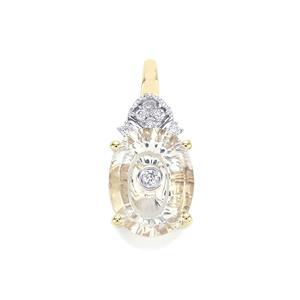 Lehrer TorusRing Lavender Quartz Pendant with Diamond in 9K Gold 1.40cts