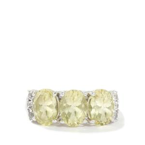 Chartreuse Sanidine & White Topaz Sterling Silver Ring ATGW 3.27cts