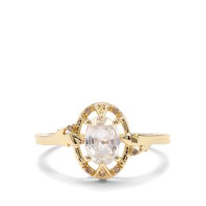 Singida Tanzanian Zircon & Champagne Diamond 9K Gold Ring ATGW 1.44cts