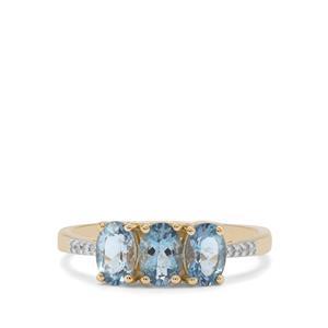 Nigerian Aquamarine & Diamond 9K Gold Ring ATGW 1.15cts