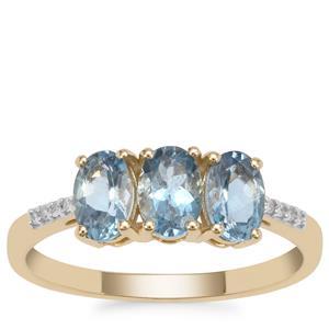 Nigerian Aquamarine Ring with Diamond in 9K Gold 1.15cts
