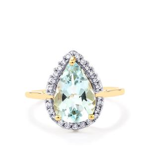 Espirito Santo Aquamarine Ring with White Zircon in 10k Gold 2.65cts