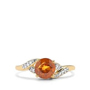 Morafeno Sphene Ring with Diamond in 10K Gold 1.60cts