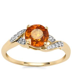 Morafeno Sphene Ring with Diamond in 9K Gold 1.60cts
