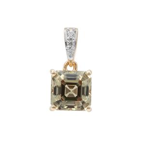 Asscher Cut Csarite® Pendant with White Zircon in 9K Gold 2.10cts