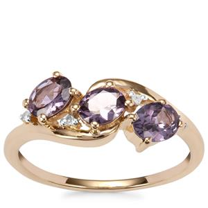 Mahenge Purple Spinel Ring with Diamond in 10K Gold 1.11cts