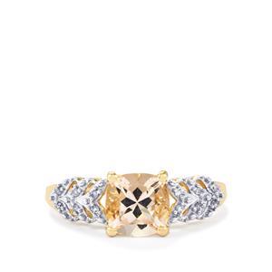 Alto Ligonha Morganite & Diamond 9K Gold Ring ATGW 1.36cts