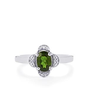 Chrome Diopside & Diamond Sterling Silver Ring ATGW 0.74cts
