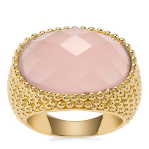 Pink Chalcedony Ring in Gold Plated Sterling Silver 11.62cts