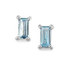 0.89ct Swiss Blue Topaz Sterling Silver Earrings