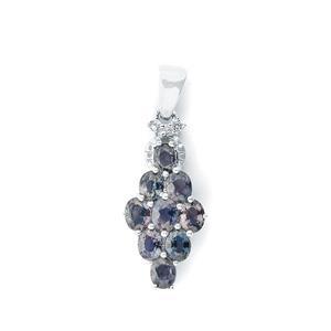 Tunduru Color Change Sapphire & White Topaz Sterling Silver Pendant ATGW 2.04cts