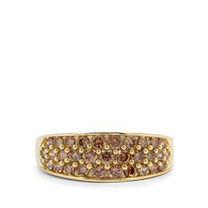 1ct Champagne Diamond 9K Gold Ring