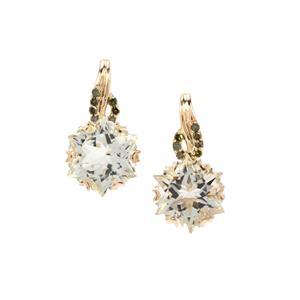 Wobito Snowflake Cut Prasiolite & Green Diamond 9K Gold Earrings ATGW 4.35cts