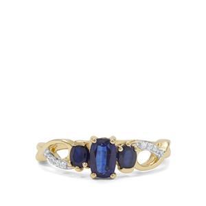 Nilamani, Thai Sapphire & White Zircon 9K Gold Ring ATGW 1.29cts