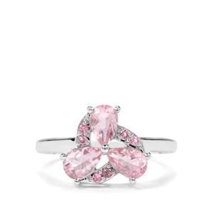 Natural Pink Fluorite & Kaffe Tourmaline Sterling Silver Ring ATGW 1.65cts