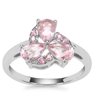 Natural Pink Fluorite Ring with Kaffe Tourmaline in Sterling Silver 1.65cts