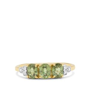 Namibian Demantoid Garnet & Diamond 9K Gold Ring ATGW 1.40cts