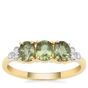 Namibian Demantoid Garnet Ring with Diamond in 9K Gold 1.40cts
