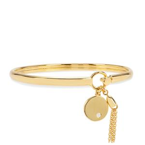 Diamond Oval Bangle in Gold Plated Sterling Silver