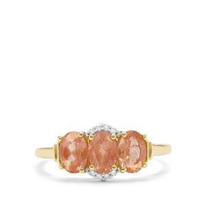 Peach Parti Oregon Sunstone & Diamond 9K Gold Ring ATGW 1.37cts