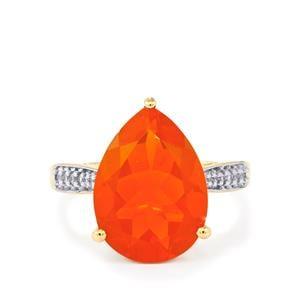 AAA Orange American Fire Opal & White Zircon 9K Gold Ring ATGW 4.57cts