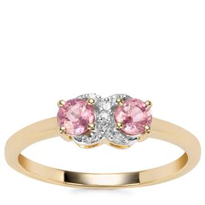 Padparadscha Sapphire Ring with Diamond in 9K Gold 0.62ct