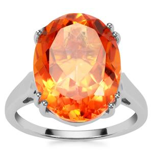 Padparadscha Colour Quartz Ring with White Zircon in Sterling Silver 9.07cts