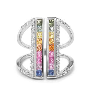 Multi-Colour Sapphire & White Zircon Platinum Plated Sterling Silver Ring ATGW 1.84cts