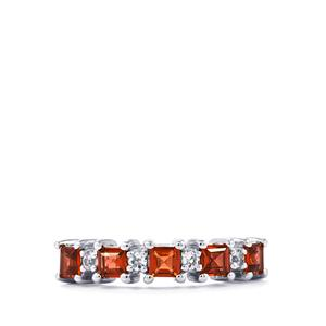 Garnet Ring with Topaz in Sterling Silver 1.01cts