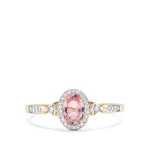 Sakaraha Pink Sapphire & White Zircon 9K Gold Ring ATGW 0.81cts