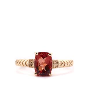 1.32ct Mongolian Red Andesine 9K Gold Ring