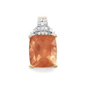 Oregon Sunstone Pendant with Diamond in 18K Gold 4.94cts