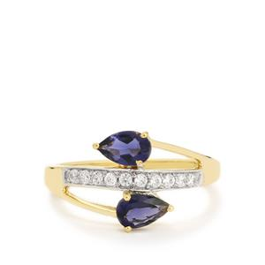 Bengal Iolite Ring with White Zircon in 10k Gold 0.93ct