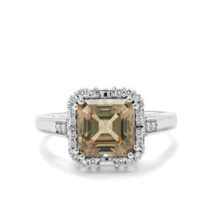 Asscher Cut Csarite® & Diamond 18K White Gold Ring MTGW 3.20cts