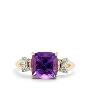 Kenyan Amethyst & Ceylon Sapphire 9K Gold Ring ATGW 2.98cts