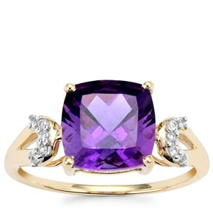 Kenyan Amethyst Ring with Ceylon Sapphire in 10K Gold 2.98cts