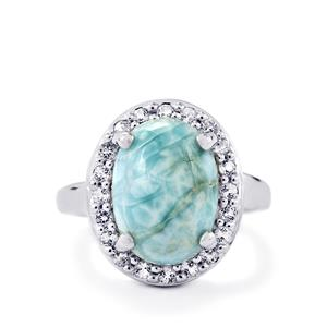 Larimar & White Topaz Sterling Silver Ring ATGW 7.27cts